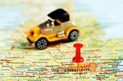London ,UK   map pin old  car Stock Photo