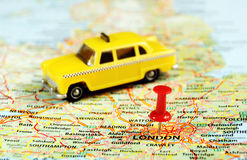 London ,UK   map pin  taxi Royalty Free Stock Photo