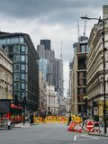 Road Ahead Closed and Diversion signs on Queen Victoria Street in the City of London, England, UK during construction. London, UK- Mar 13, 2018: Road Ahead stock photography
