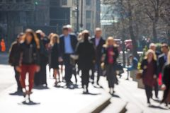 City of London, Blur of walking business people in the City of London. Busy modern life concept. Royalty Free Stock Images