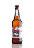 LONDON,UK - MARCH 30, 2017 : Bottle of Coors Light beer on white. Coors operates a brewery in Golden, Colorado, that is the larges Stock Photography