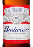 LONDON,UK - MARCH 21, 2017 : Bottle label of Budweiser Beer on white background, an American lager first introduced in 1876. Stock Images