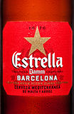 LONDON,UK - MARCH 21, 2017 : Bottle label of Estrella Damm beer on white background, Estrella Damm is a pilsner beer, brewed in Ba Stock Photo