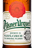 LONDON,UK - MARCH 21, 2017 :  Bottle label of Pilsner Urquell beer on white.It has been produced since 1842 in Pilsen, Czech Repub Royalty Free Stock Images