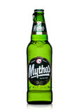 LONDON, UK - MARCH 15, 2017:  Bottle of Mythos beer on white. Made by the Mythos Brewery company, the popular brand was launched i Stock Photography