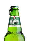 LONDON, UK - MARCH 15, 2017:  Bottle of Mythos beer on white. Made by the Mythos Brewery company, the popular brand was launched i Royalty Free Stock Photos
