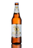 LONDON, UK - MARCH 15, 2017: Bottle of Singha beer , Singha beer is most popular in thailand , Rayong , Thailand Royalty Free Stock Image