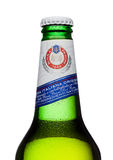 LONDON, UK - MARCH 15, 2017: Cold bottle of Peroni Beer. Founded n the town of Vigevano, Italy in 1846. LONDON, UK - MARCH 15, 2017: Cold bottle of Peroni Beer Royalty Free Stock Photos