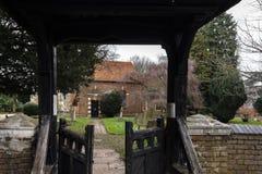 Entrance to St Dunstan`s Church through a wooden gate