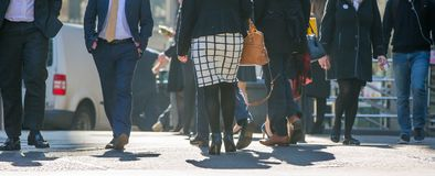 City of London, Feet of business people walking in the City of London. Busy modern life concept. Royalty Free Stock Photo