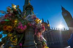 London, UK - March 25, 2017: Flower tributes on Westminster Bridge Stock Photos