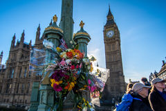 London, UK - March 25, 2017: Flower tributes on Westminster Bridge Stock Images