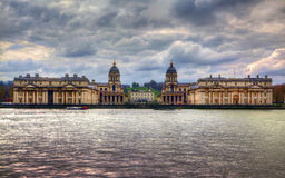 LONDON, UK - MARCH 29, 2014 Greenwich view and river Thames from dockland s side, HDR proceeding Royalty Free Stock Photos