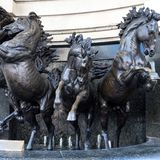 The Horses of Helios Statue in Piccadilly London on March 11, 2019. LONDON, UK - MARCH 11 : The Horses of Helios Statue in Piccadilly London on March 11, 2019 royalty free stock image
