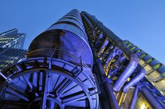 Modern Lloyds of London futuristic building at night royalty free stock photo