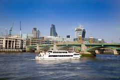 LONDON, UK - MARCH 29, 2014  South bank walk of the river Thames Royalty Free Stock Images