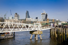 LONDON, UK - MARCH 29, 2014  South bank walk of the river Thames Royalty Free Stock Photography