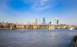 LONDON, UK - MARCH 29, 2014  South bank walk of the river Thames Stock Photos
