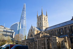 LONDON, UK - MARCH 29, 2014  Southwark Cathedral and Shadr of glass Royalty Free Stock Photography