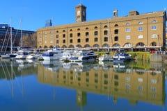 London, UK - March 27, 2016 - St Katharine dock. Modern yachts and boat moored at St Katharine dock in London, United Kingdom royalty free stock photography