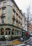 Coco Momo cafe bar on a street corner in Marylebone High Street, W1, London, UK stock photography