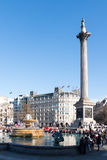 LONDON/UK - MARCH 7 : View of Nelson's Statue and Column in Traf Stock Image