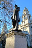 LONDON, UK - MARCH 16, 2014: Viscount Palmerston statue at Parliament Square Stock Photos