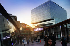 LONDON, UK-MARCH  09, 2014: Westfield. LONDON, UK-MARCH  09, 2014: View of Westfield Stratford City, Shopping Centre in evening light Royalty Free Stock Photo