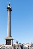 LONDON/UK - 7 MARZO: Vista della statua e della colonna del Nelson in Traf immagine stock libera da diritti