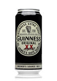 LONDON, UK - MAY 29, 2017: Alluminium can of Guinness original beer on white. Guinness beer has been produced since 1759 in Dublin Royalty Free Stock Image