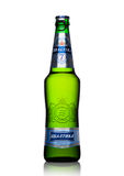 LONDON, UK - MAY 15, 2017: A bottle of Baltika Lager beer number Seven on white. Baltika is the second largest brewing company in Stock Images