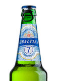 LONDON, UK - MAY 15, 2017: A bottle of Baltika Lager beer number Seven on white. Baltika is the second largest brewing company in Stock Photography