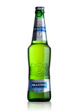 LONDON, UK - MAY 15, 2017: A bottle of Baltika Lager beer number Seven on white. Baltika is the second largest brewing company in Royalty Free Stock Photo