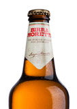 LONDON, UK - MAY 15, 2017: Bottle of Birra Moretti beer on white, Italian brewing company, founded in Udine in 1859 by Luigi Moret Stock Image