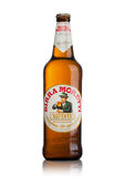 LONDON, UK - MAY 15, 2017: Bottle of Birra Moretti beer on white, Italian brewing company, founded in Udine in 1859 by Luigi Moret Royalty Free Stock Image
