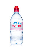 LONDON, UK - MAY 29, 2017: Bottle Of Evian Natural Mineral Water on a white. Made in France. Royalty Free Stock Photo