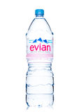 LONDON, UK - MAY 29, 2017: Bottle Of Evian Natural Mineral Water on a white. Made in France. Royalty Free Stock Photos