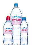 LONDON, UK - MAY 29, 2017: Bottle Of Evian Natural Mineral Water on a white. Made in France. LONDON, UK - MAY 29, 2017: Bottles Of Evian Natural Mineral Water stock photography