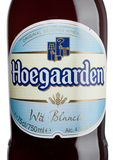 LONDON, UK - MAY 29, 2017: Bottle label of Hoegaarden wheat Belgian beer on white. Belgium and the producer of a well-known wheat. LONDON, UK - MAY 29, 2017 royalty free stock photo
