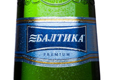 LONDON, UK - MAY 15, 2017: Bottle label  Lager beer number Seven on white. Baltika is the second largest brewing company in Russia Stock Photo