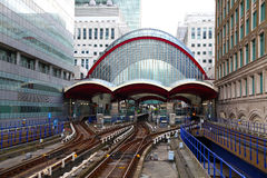 LONDON, UK - MAY 12, 2014: Canary Wharf DLR docklands station in London. LONDON, UK - MAY 12, 2014: Canary Wharf DLR docklands station Royalty Free Stock Images