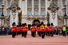 The changing of the guard at Buckingham Palace in London, UK stock photos