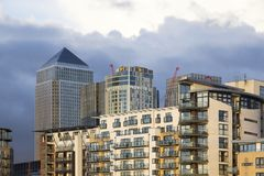 London cityscape across the River Thames with a view of Canary Wharf, London, England, UK, May 20, 2017. LONDON, UK - MAY 20, 2017. London cityscape across the stock photo