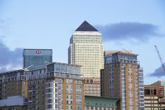 London cityscape across the River Thames with a view of Canary Wharf, London, England, UK, May 20, 2017. LONDON, UK - MAY 20, 2017. London cityscape across the royalty free stock image