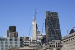 London cityscape across the River Thames with a view of the Leadenhall and Natwest Tower skyscrapers,. LONDON, UK - MAY 20, 2017. London cityscape across the stock image