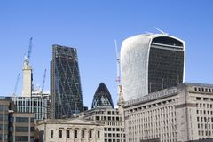 London cityscape across the River Thames with a view of the Leadenhall, 30 St Mary Axe and 20 Fenchurch. LONDON, UK - MAY 20, 2017. London cityscape across the royalty free stock photos
