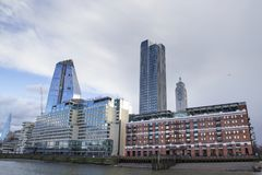 London cityscape across the River Thames with a view of the Oxo Tower, Sea Containers office buildings. LONDON, UK - MAY 20, 2017. London cityscape across the stock image