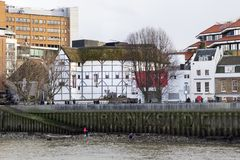London cityscape across the River Thames with a view of the Shakespeares Globe, London, England, UK,. LONDON, UK - MAY 20, 2017. London cityscape across the stock photos