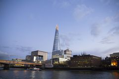 London cityscape across the River Thames with a view of the Shard, London, England, UK, May 20, 2017. LONDON, UK - MAY 20, 2017. London cityscape across the royalty free stock photography