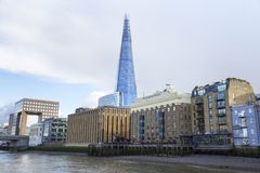 London cityscape across the River Thames with a view of the Shard, London, England, UK, May 20, 2017. LONDON, UK - MAY 20, 2017. London cityscape across the royalty free stock images